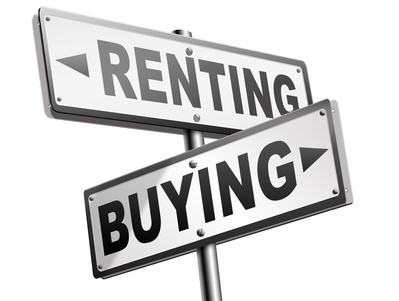 Crossed road signs for Renting and Buying