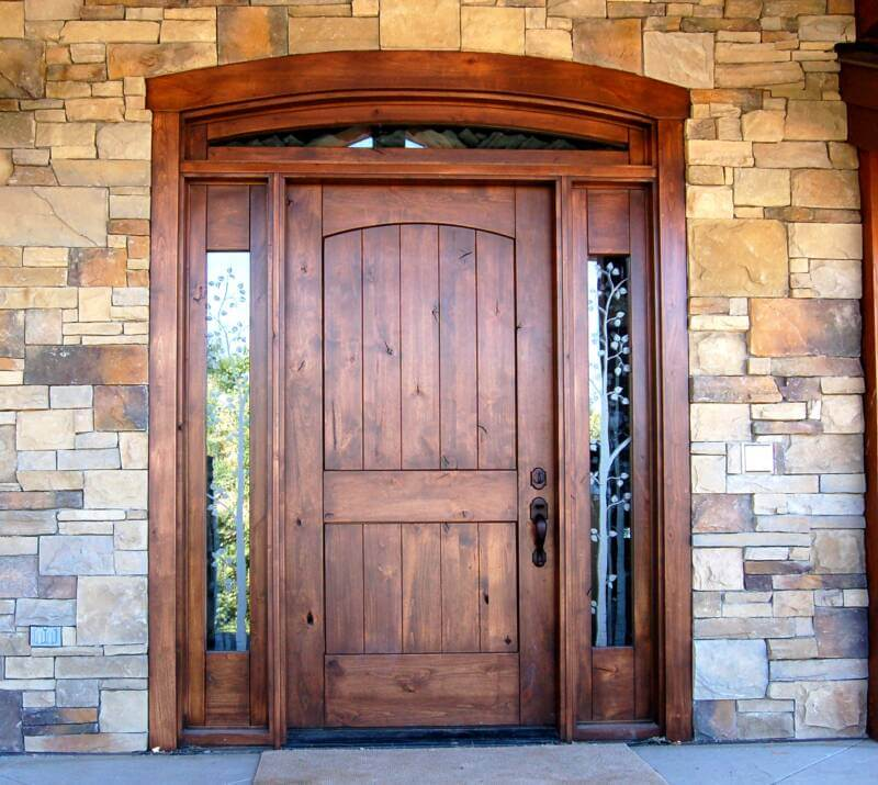 Vintage-Stone-Wall-And-Classic-Wood-Door-Design