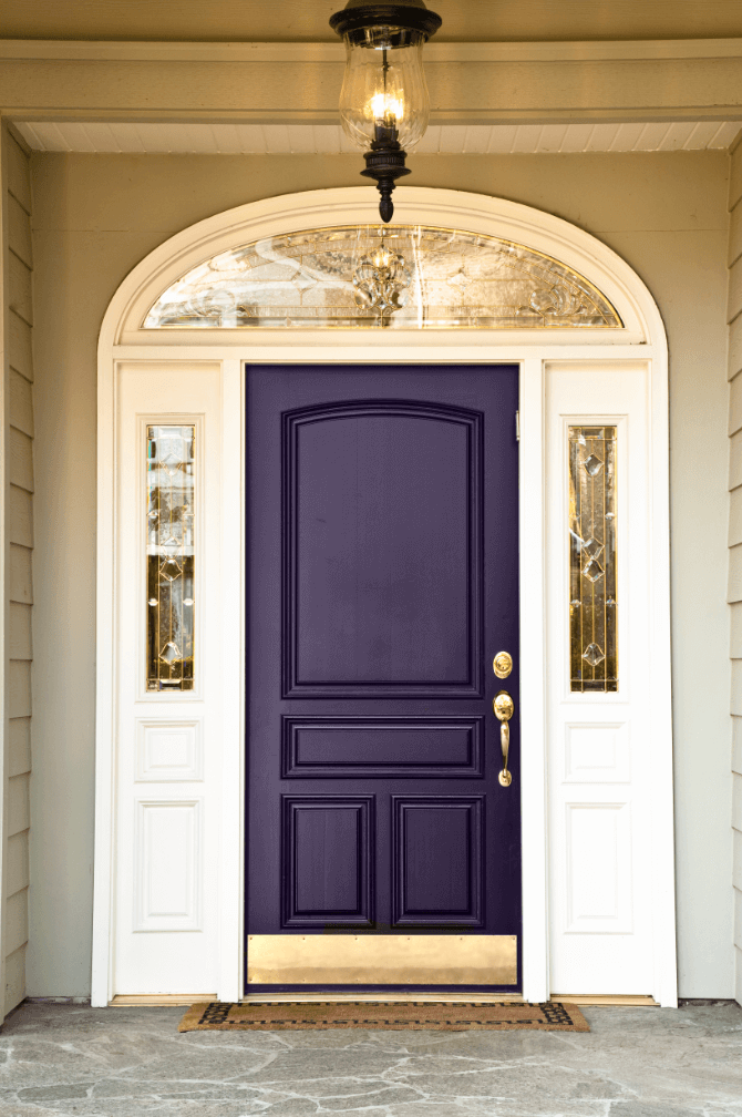 Violet-Wood-Front-Door-And-Ceiling-Lamp-Lighting-Also-Grey-Carpet-Idea