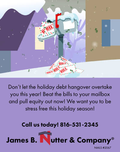 Cartoon of snow covered mail box over flowing with holiday bills